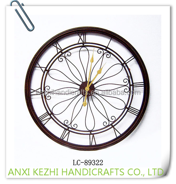 LC-89322 China factory promotional round iron metal antique wall clock
