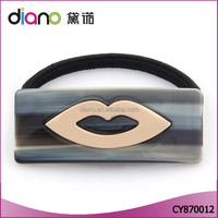 New arrival women's favorite hair band rectangular design with lips decoration black elastic band
