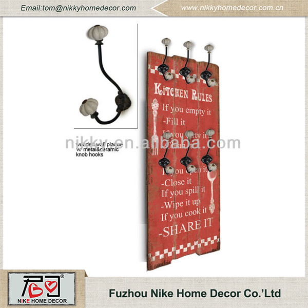 Best selling products vintage wood signs with ceramic hook