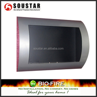 Silver Painting Front panel. Black matt interior firebox. ,wall decorative fireplace,AF-23 SS