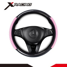 Xracing IAWC008B-P Auto car universal genuine elegant soft women pink glitter steering wheel cover for steering protection