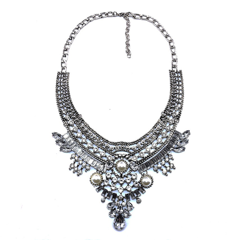 2017 Hot Fashion Jewelry Women Vintage Silver Maxi Colar Necklace