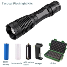 Professional tactical kit torch waterproof xml T6 led portable zoom strong light flashlight