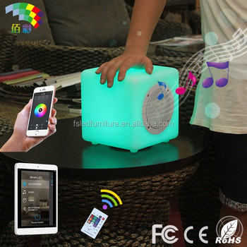 wholesale mini plastic speaker rechargeable led cube with bluetooth speaker