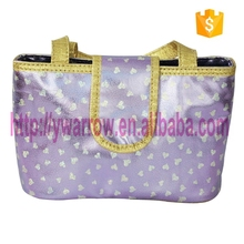 cute PVC cosmetic hand bag with heart shape printing