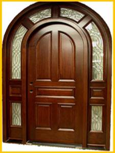 WOODEN DOORS DARK BROWN WITH GLASS