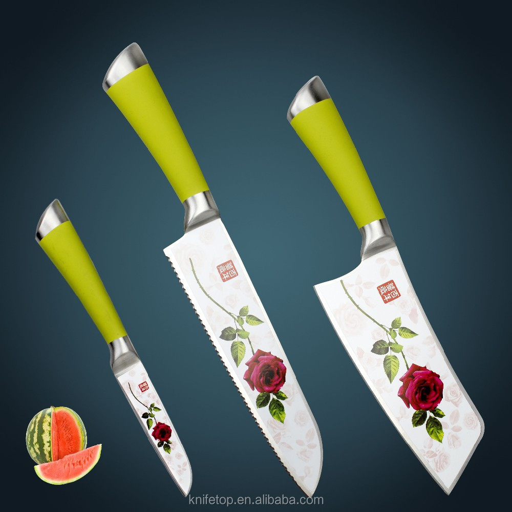 HUIWILL Ceramic Knives set kitchen chef's paring knife with Teflon technical beautiful Rose photo on