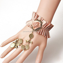 JY1047 yiwu Lolita wind high-grade fabric bracelet with ring restoring ancient ways,adjustable bracelet with ring