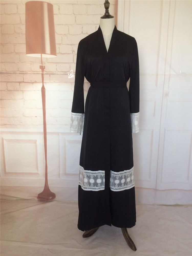 Trandational Dubai Abaya Dresses Black Long Sleeve Dress Polyester Islamic Clothing Abayas for women
