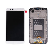 China mobile spare parts white color for LG K10 LCD Display with touch screen digitizer and frame