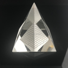 3D Laser Engraved Quartz Crystal Glass Father Figurines Pyramid Paperweight Natural Stones And Minerals Fengshui Crystals Crafts
