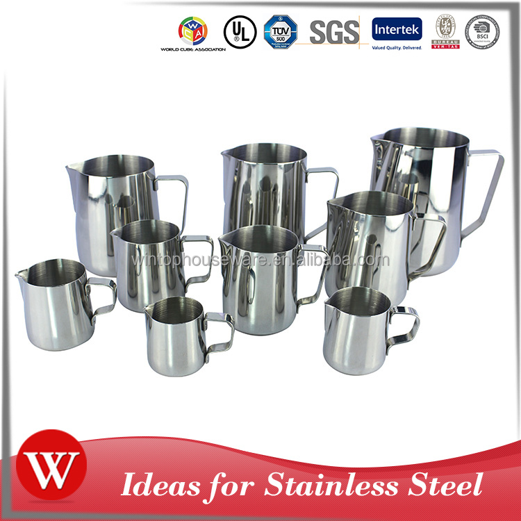 150ml 300ml 1000ml 1500ml 2000ml customized size metal stainless steel milk jug