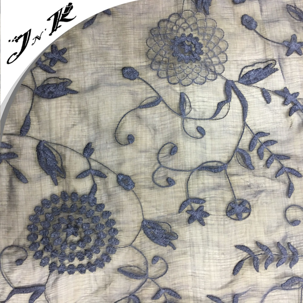 Fabric Guangzhou flower embroidery design 100% Polyester chiffon fabric