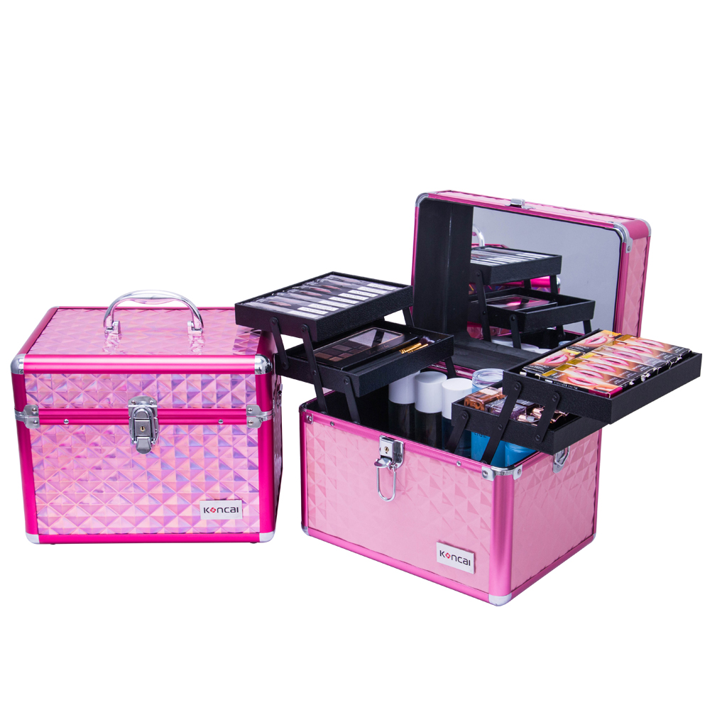 Koncai New Arrival Cosmetic Organizer Case Makeup Case with Mirror Beauty Case Vanity Box