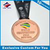 Copper plated custom casting zinc alloy brass iron metal medal for Hong Kong prize