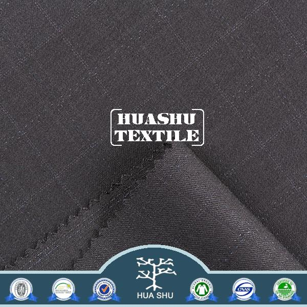 ISO9001 certification tr yarn dyed polyester spandex fabric for men's suit