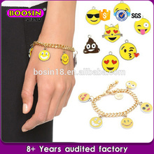 Customized hot sale happy face charm bracelets emoji