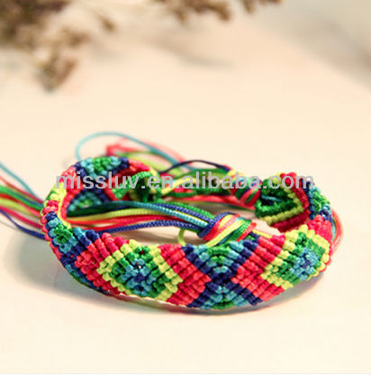DIY hand woven cord bracelet jewelry 2014 Hot sale geometric pattern rope braided net bangles Best gifts bangles for friendship