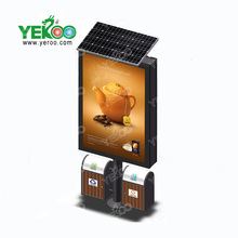 Outdoor solar powered mupi signboard light box advertising lightbox with trash can
