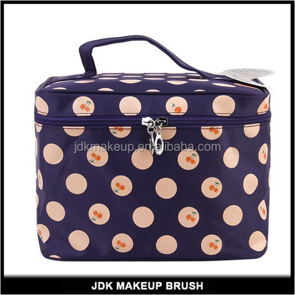 Girls Cherry Polka Dots Cosmetic Bag Big Travel Cosmetic Makeup Pouch with Zipper and Washable