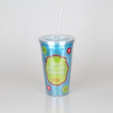 Hard Plastic Water Drink Cup 16oz With Straw