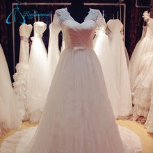 Lace Pleat Sequined China Custom Made Wedding Dress