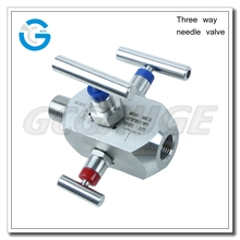 High quality stainless steel three way valve for pressure gauge