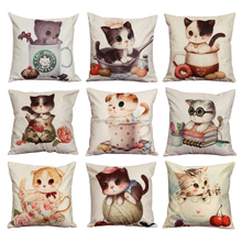 Cartoon Cat Chair Pillow New cojines Personality Car Cushion Cover Cute Seat Cushion Without Fillers almofada