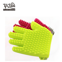 Multi-color Solf silicone durable pet dog and cat grooming glove brush