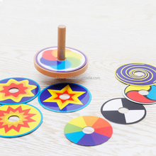 Traditional Educational Wooden Spinning Top Gyro Peg-top with Replaceable Colored Card for Children Kids (Random pattern card)