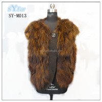 fashion Women's Korean style V neck collar and sleeveless real raccoon fur vest gilet with wool yarn for sex girls
