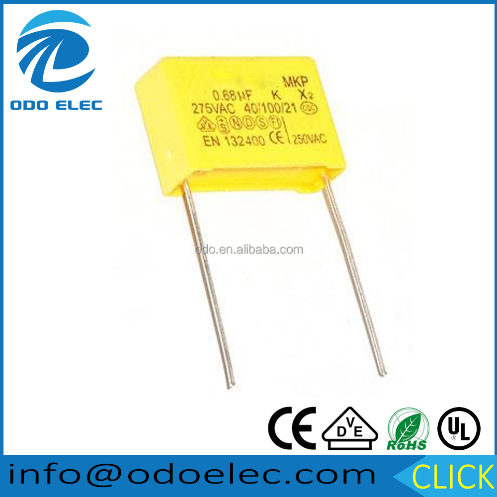high long life yellow Box type film capacitor x2 275VAC 0.68uF mkp polypropylene capacitors 684k for ac motor