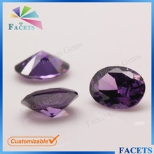 Facets Gems Artificial Semi Precious Stone Egg Shape CZ Natural Amethyst Stone