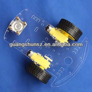 Transparent plastic Smart Car Chasis Remote Control Robot Chassis Robot Car