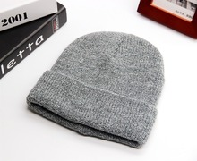 High quality wholesale custom winter warm double layers knitted folded acrylic cuff beanie hat with mixed color