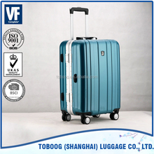 2014 100% Pure PC Fashion Design High quality 4 wheel travel bag aluminium trolley case