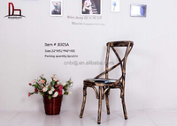 high quality antique metal dining chair with PU cushion new vintage metal X cross back chair banquet wedding chair for sale