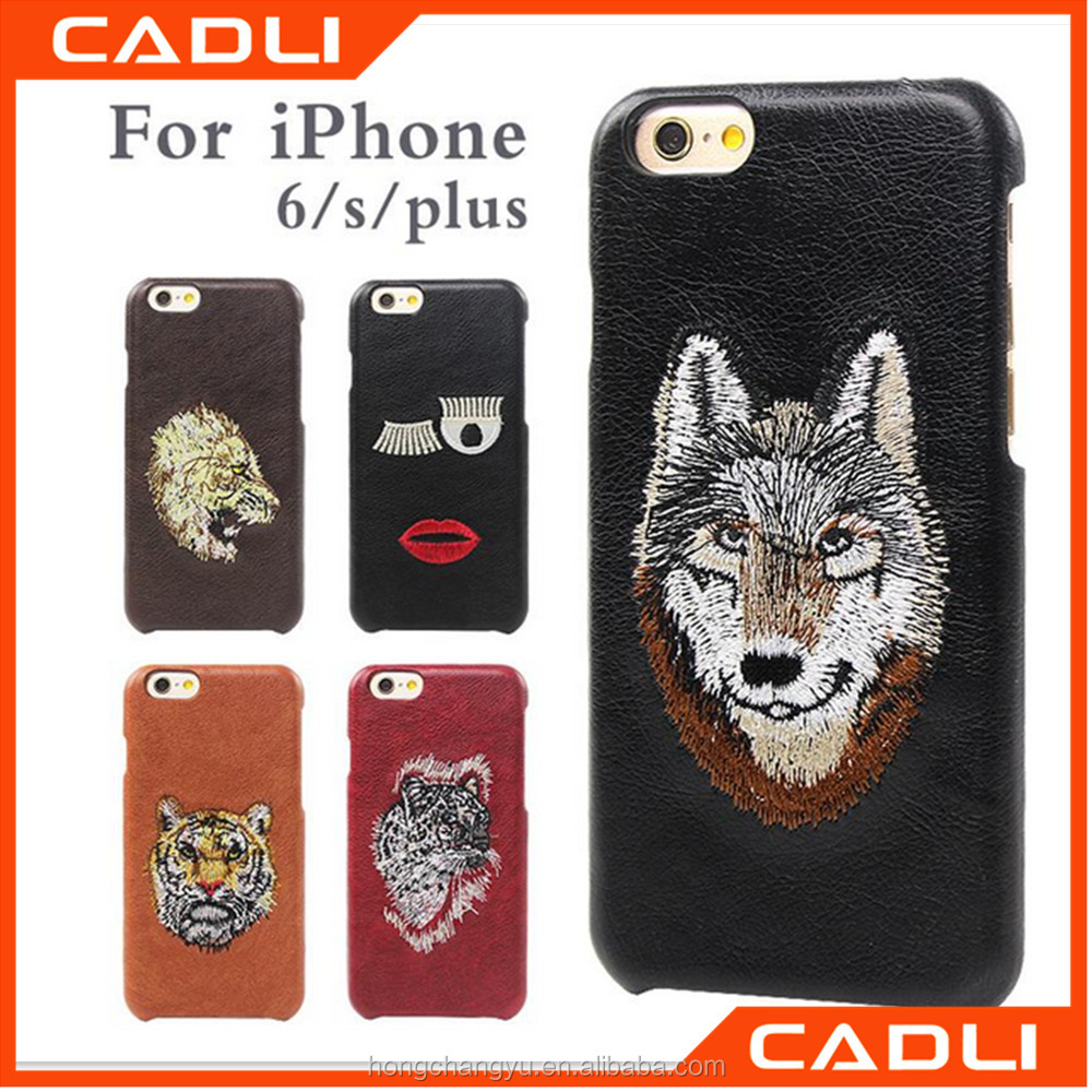 Wild Animal Embroidery PU Leather Cellphone Shell Back Case Cover for iPhone 6 6S Phones