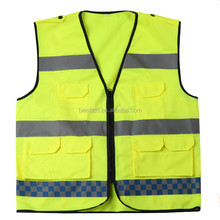 BS-FGY011 100% polyester Reflective safety vest clothing with pockets unisex, velcro