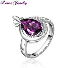 Stylish Amethyst Purple Crystal Ring Party Engagement Exaggerated Wedding Rings for Women Platinum Plated Women Rings