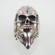 Rock Punk Silver Fashion Hairstyle Beard Skull Rings For Men 316L Stainless Steel Cool Charm Jewelry Party Gifts