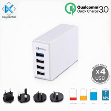 Hot sellers AU US EU UK KR SAA 38w 4 usb qc 3.0 Qualcomm quick charge 3.0 desktop mobile phone QC 3.0 wall charger new zealand