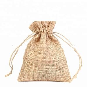 Custom made burlap jute hemp jewelry gift favor bags with drawstring