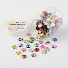 Wholesale Flower Printed Mixed Color Half Round Colored Glass Cabochons