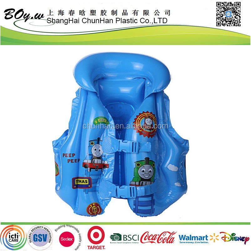 Sedex factory water float vest air pool swimming training cartoon train printing blue pvc boy inflatable life saving jackets