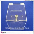 table top lockable acrylic clear donation box