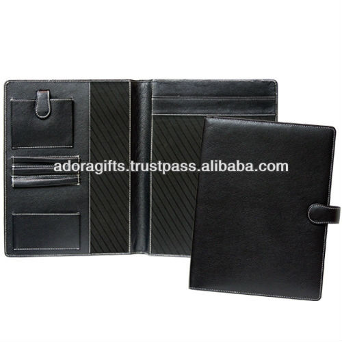 file folder with snap lock/ leather folder