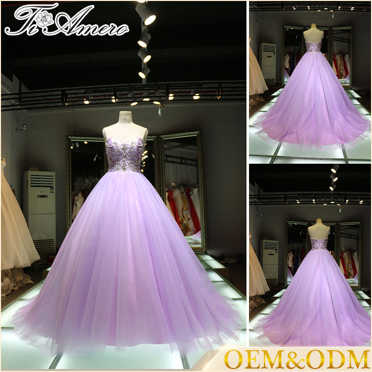 2016 China wholesale women dress high quality purple pink new arrival sweetheart brial wedding dress