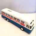 Shenzhen factory OEM school bus saving bank, custom made bus coin bank, plastic money bank