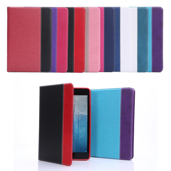 new design contrast color fabric leather case for ipad mini 2 mini 1